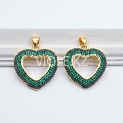 Крупная подвеска Сердце, 22*24 мм, зелёная, 18К