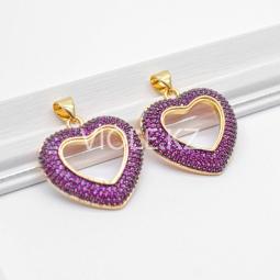 Крупная подвеска Сердце, 22*24 мм, пурпурная, 18К
