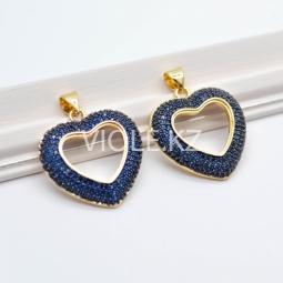 Крупная подвеска Сердце, 22*24 мм, синяя, 18К
