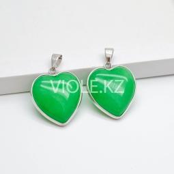 Подвеска Сердце, халцедон зелёный, 24*25 мм