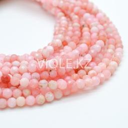 Бусины гранёные, розовый опал, 4 мм, нить