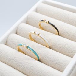 Кольцо с эмалью и инкрустацией, 20 мм