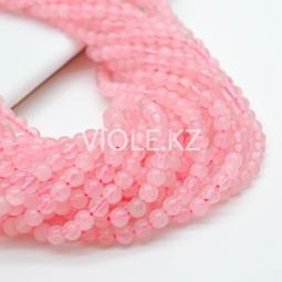 Бусины гладкие, розовый кварц, 4,5 мм, нить