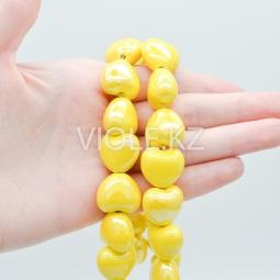 Подвеска сердце, керамика, жёлтый 15*17 мм. (шт.)
