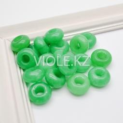 Бублик халцедон зелёный, 14 мм