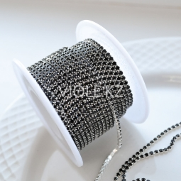 Стразовая цепь чёрная, оправа серебро 2 мм.