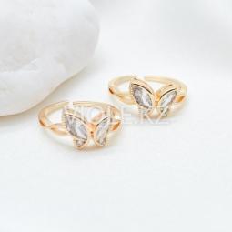 Кольцо с бабочкой, инкрустация, позолота 14К