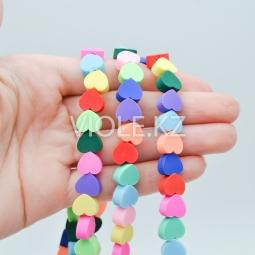 Цветные бусины сердечки, каучук, 9*10 мм., нить