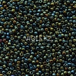 Круглый бисер ТОХО 11/0 Metallic Iris - Green/ Brown (84)