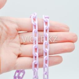 Пластиковая цепь, цвет сиреневый, 8*13 мм.