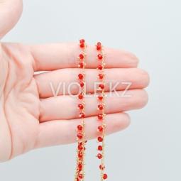 Цепь c красными гранёнными бусинами 3 мм, позолота 18К (10 см.)