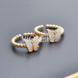 Кольцо с бабочкой из перламутра, позолота 14К