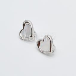Швензы сердце, с перламутром и инкрустацией 15 мм.