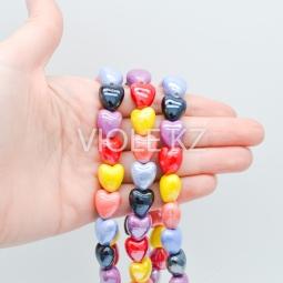 Подвеска сердце (2), керамика 12*13 мм. (шт./нить)