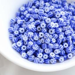 Бусины с синими полосками, 4 мм.