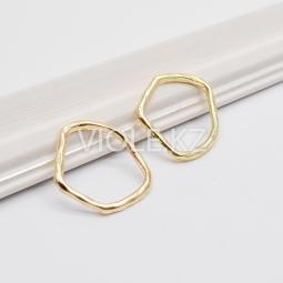 Коннектор мятое кольцо, 20*21 мм, цвет золото