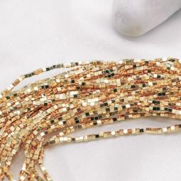 Гематит квадратный, золото, 2 мм., нить