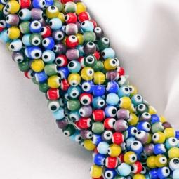 Цветные бусины шарики, глазики, 6 мм., нить