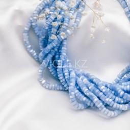 Перламутр рондели, голубой, 2*5 мм. (нить)